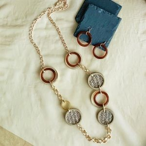 Celluloid Mix Ring Long Necklace Set
